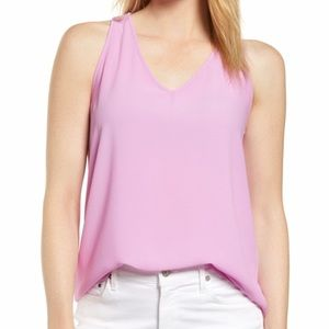 Tops - Gibson Pink V Neck Tie Back Tank